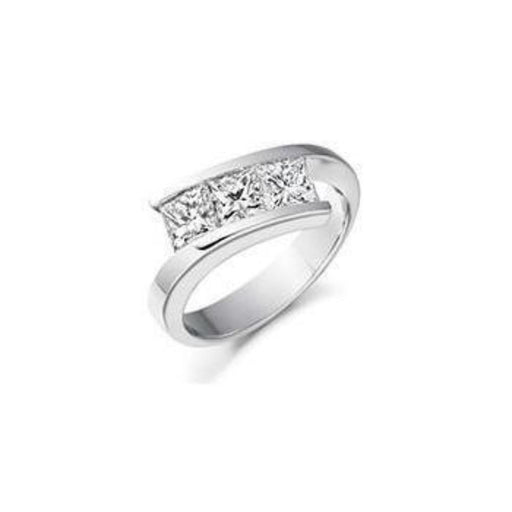 Rock Lobster Ring Diamond 1.55ct princess cut trilogy crossover ring