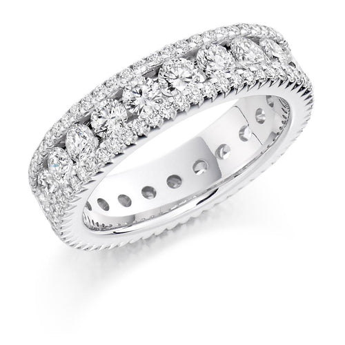 Rock Lobster Ring Diamond 2.80ct brilliant cut full eternity ring