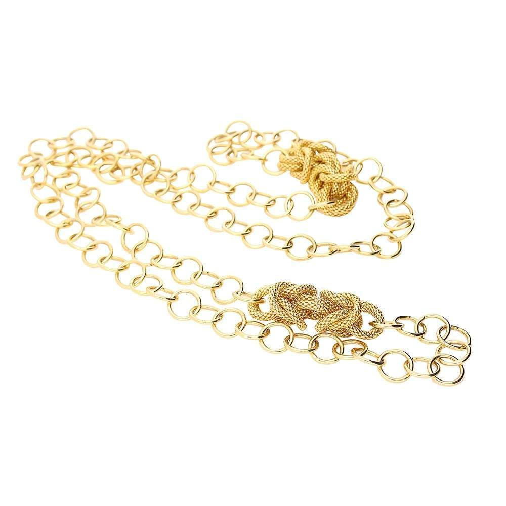 Rock Lobster Necklace Gold knitted link and chain necklace