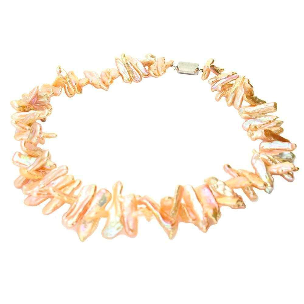 Rock Lobster Neckwear Gold &  pink baroque pearl necklace