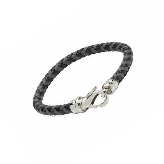 Rock Lobster Bracelet Grey and black plaited leather bracelet with a steel lobster catch