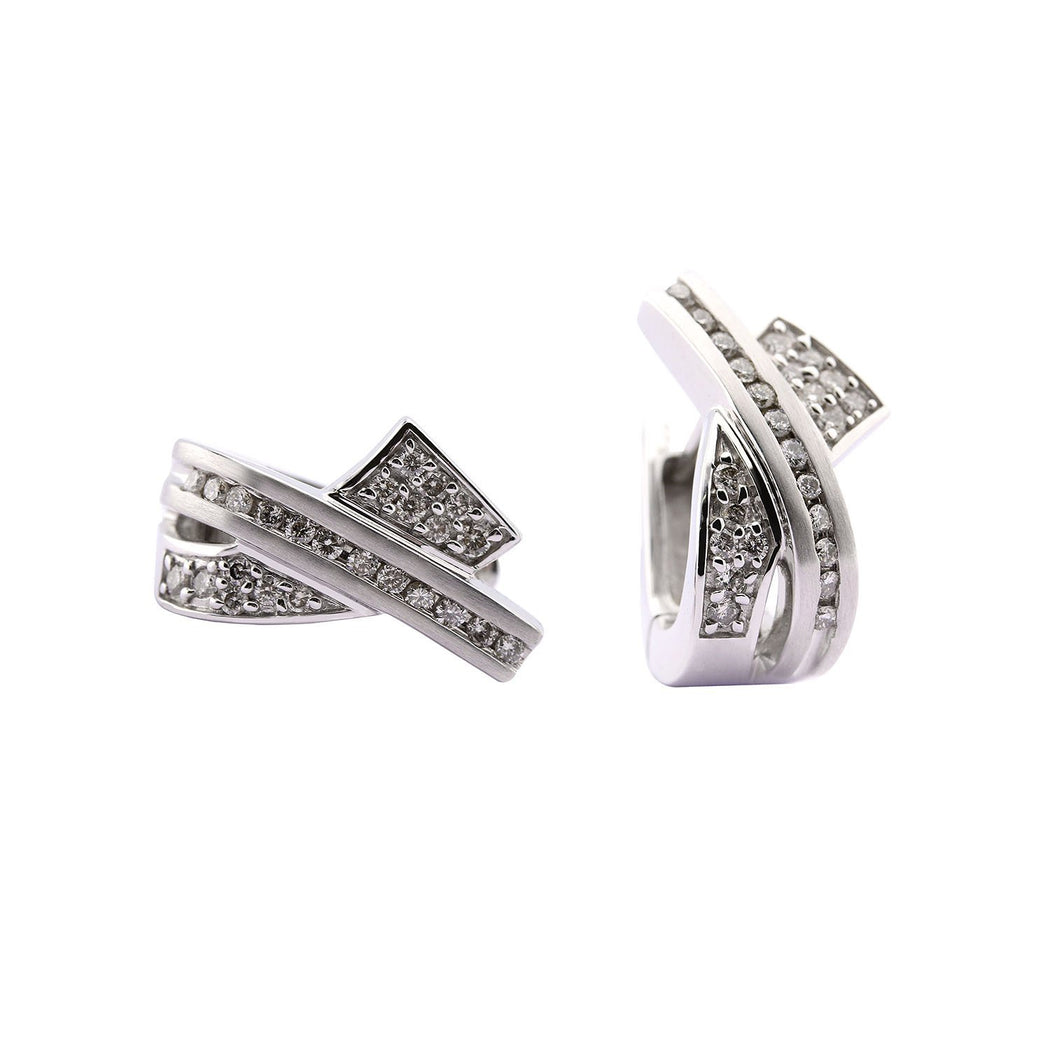 Rock Lobster Jewellery Earrings 14ct white gold diamond 0.54ct huggie hoop earrings