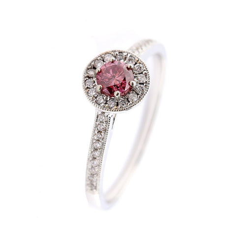 Rock Lobster Jewellery Ring 18ct white gold 0.24ct pink diamond halo ring