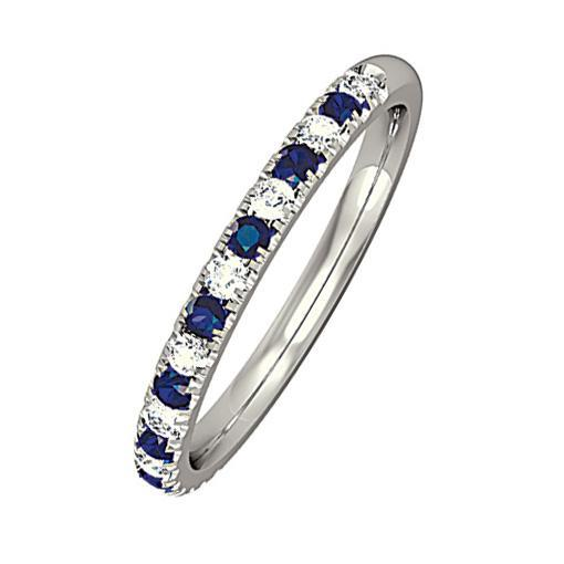 Rock Lobster Jewellery Ring 18ct white gold diamond and blue sapphire half eternity ring