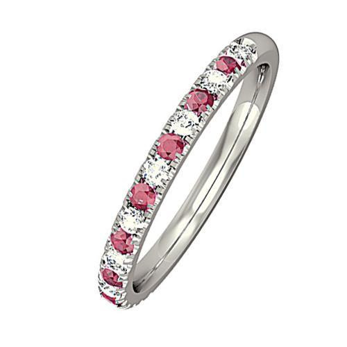 Rock Lobster Jewellery Ring 18ct white gold diamond and ruby half eternity ring