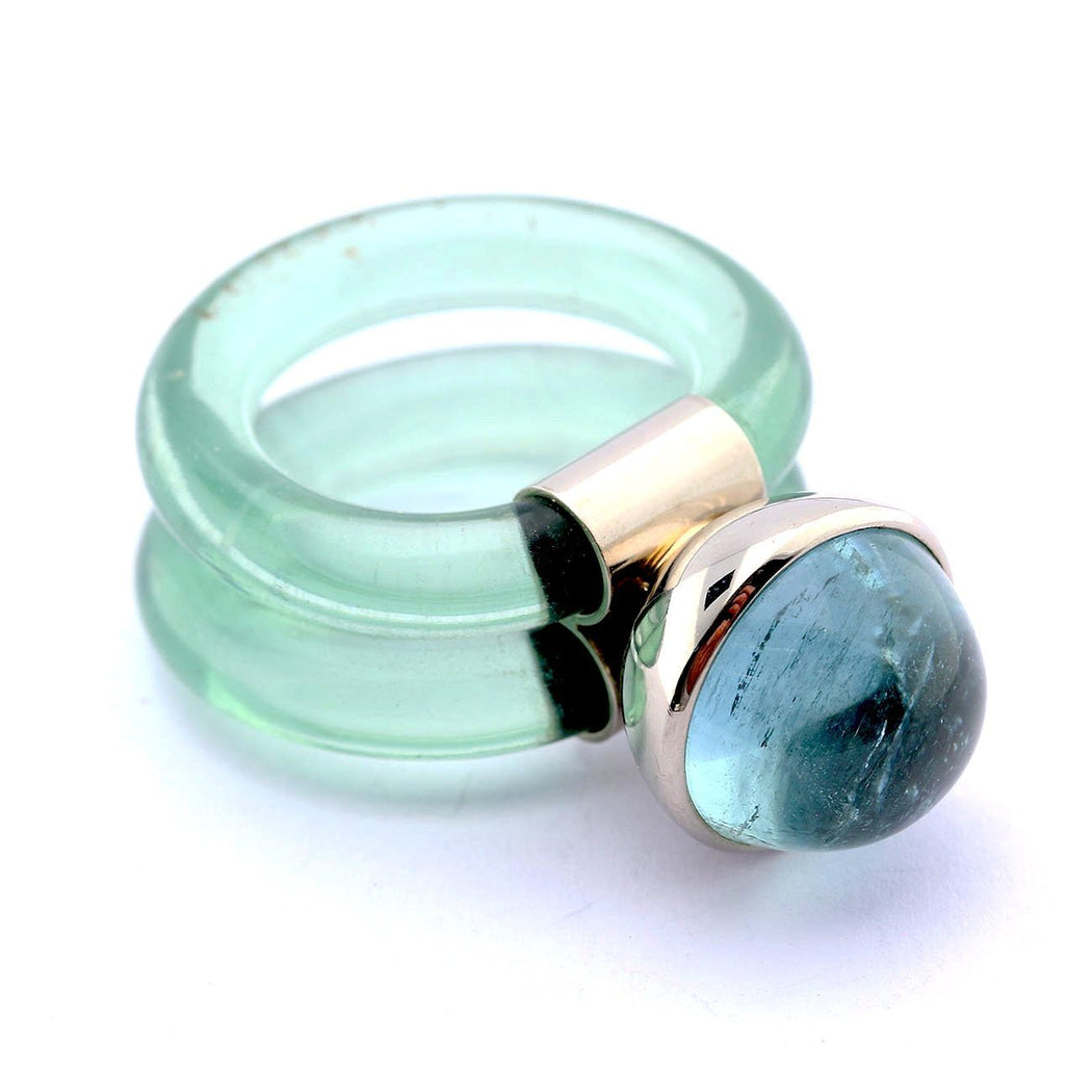 Rock Lobster Jewellery Ring 18ct white gold rubber Aquamarine ring