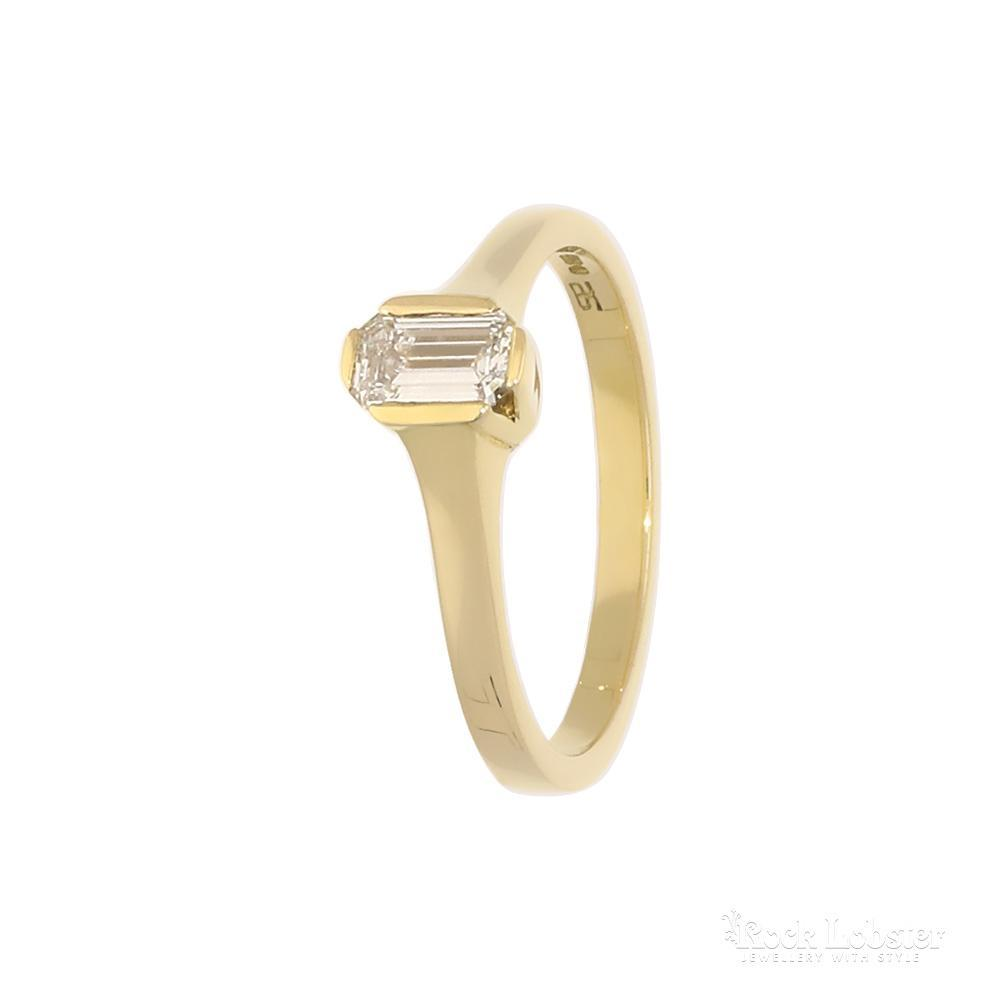 Rock Lobster Jewellery 18ct Yellow Gold 0.39ct emerald cut diamond ring