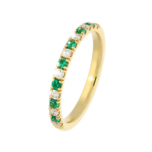 Rock Lobster Jewellery Ring 18ct yellow gold diamond and emerald half eternity ring