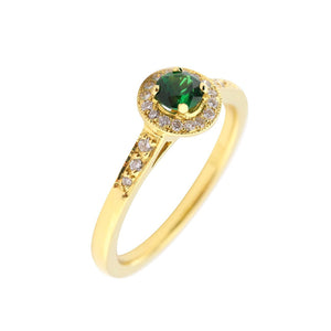 Rock Lobster Jewellery Ring 18ct yellow gold green tourmaline and diamond cluster ring