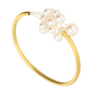 Rock Lobster Jewellery Bangle 18ct yellow gold white pearl cloud bangle
