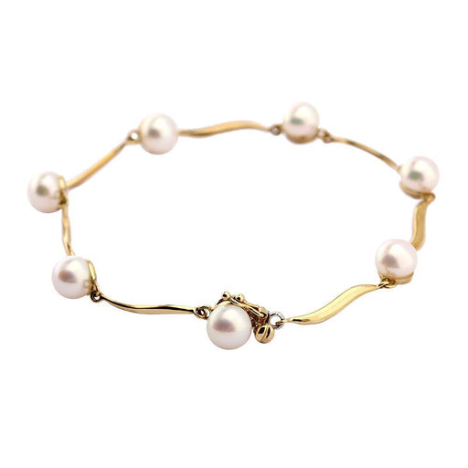 Rock Lobster Jewellery Bracelet 9ct gold wave and freshwater pearl bracelet