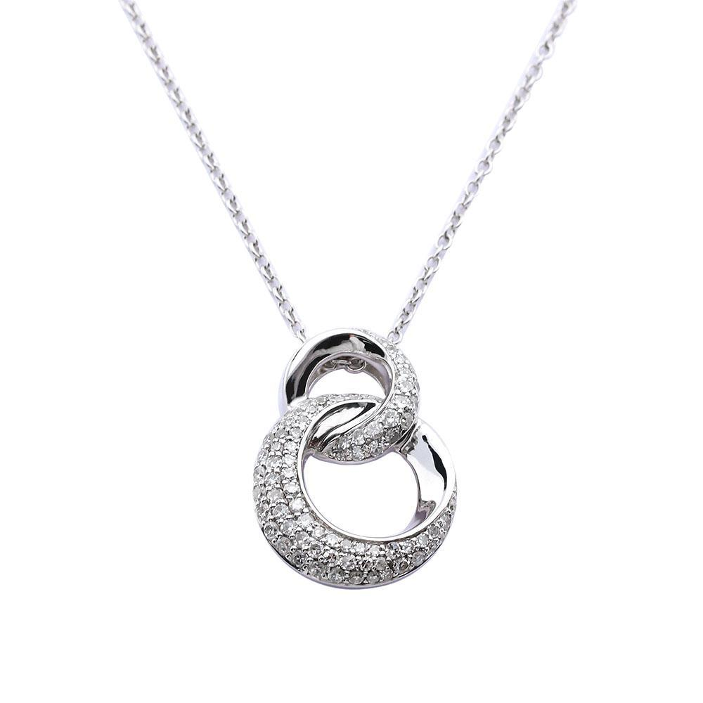 Rock Lobster Jewellery Pendant 9ct white gold and diamond double hoops pendant