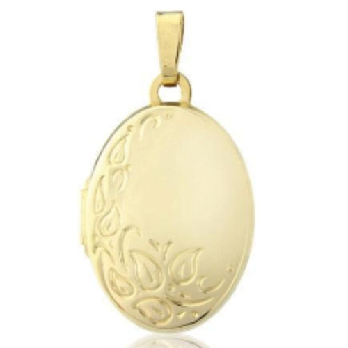 Rock Lobster Jewellery Pendant 9ct yellow gold patterned oval locket