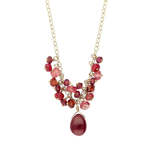 Rock Lobster Jewellery Necklace 9ct yellow gold ruby and pink tourmaline necklace