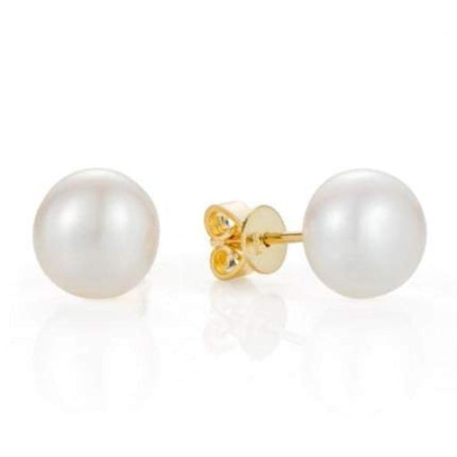 Rock Lobster Jewellery Earrings Claudia Bradby gold plated Silver and white pearl 7.5mm stud earrings