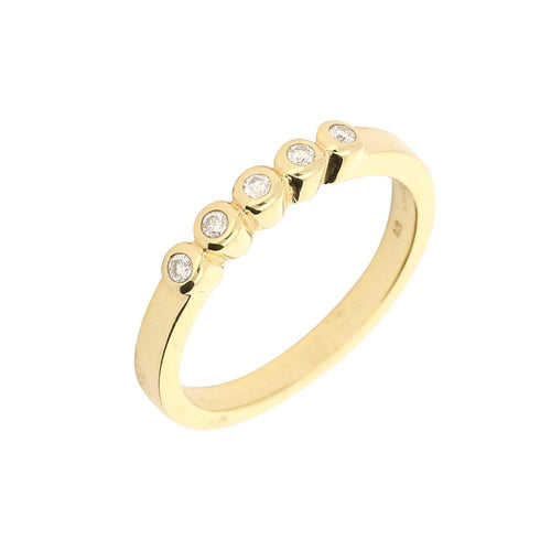 Rock Lobster Jewellery Ring Gold five diamond band