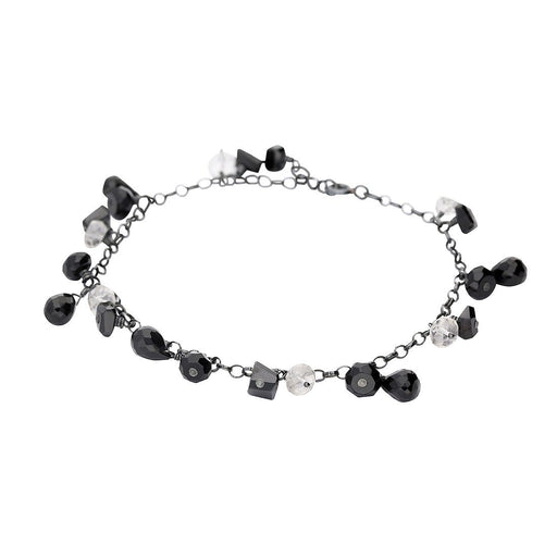 Rock Lobster Jewellery Bracelet Oxidised Silver, onyx and rock crystal bracelet