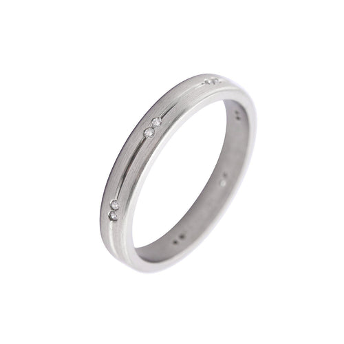 Rock Lobster Jewellery Ring Palladium and diamond grooved band