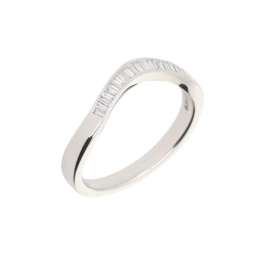 Rock Lobster Jewellery Ring Platinum baguette diamond curved half eternity ring
