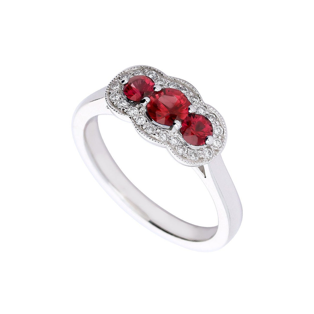 Rock Lobster Jewellery Ring Platinum Ruby and diamond three stone cluster ring