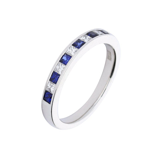 Rock Lobster Jewellery Ring Platinum Sapphire and diamond half eternity ring