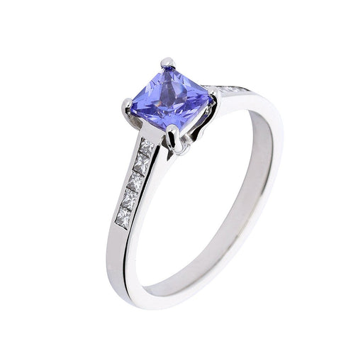 Rock Lobster Jewellery Ring Platinum tanzanite and diamond princess cut ring