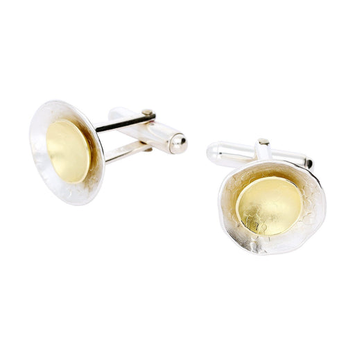 Rock Lobster Jewellery Cufflinks Silver and 18ct yellow gold dish cufflinks