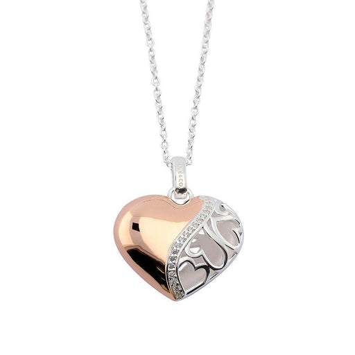 Rock Lobster Jewellery Pendant Silver and rose gold plate filagree stone set heart pendant