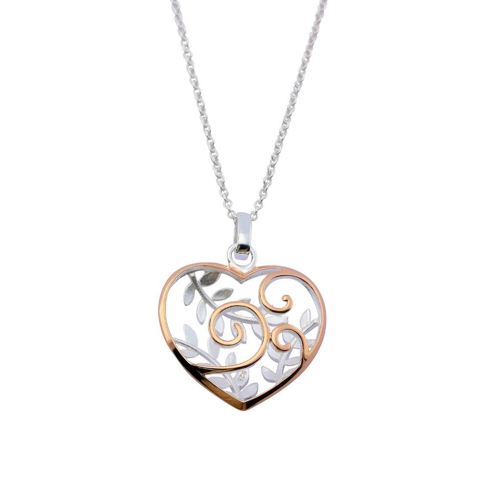 Rock Lobster Jewellery Pendant Silver and rose gold plate heart leaf pendant