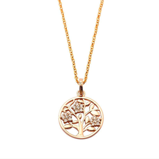Rock Lobster Jewellery Pendant Silver and rose gold plate tree disc pendant with stone set flowers