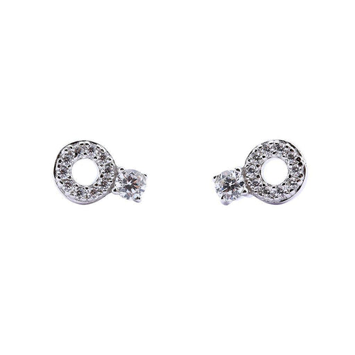 Rock Lobster Jewellery Earrings Silver cubic zirconia pave hoop stud earrings
