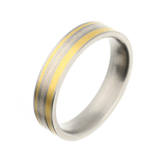 Rock Lobster Jewellery Ring Titanium Gold Silver striped 5mm band