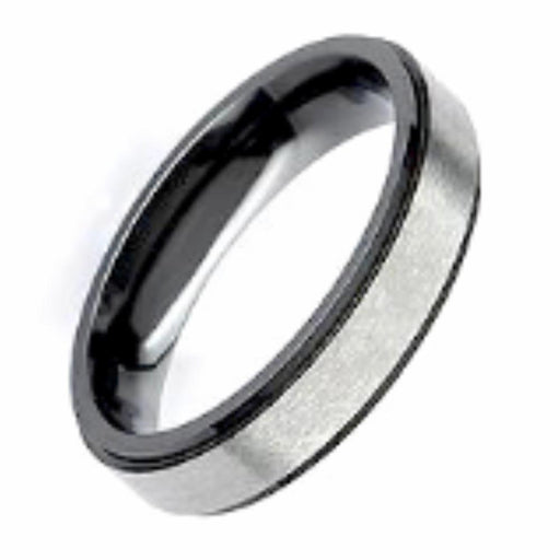 Rock Lobster Jewellery Ring Zirconium black edged flat band
