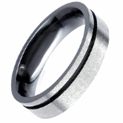 Rock Lobster Jewellery Ring Zirconium flat court band with offset black groove