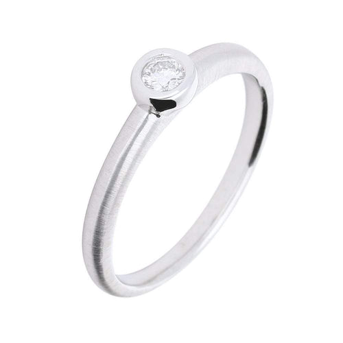 Rock Lobster Ring Manhatton 18ct white gold diamond rubover satin ring