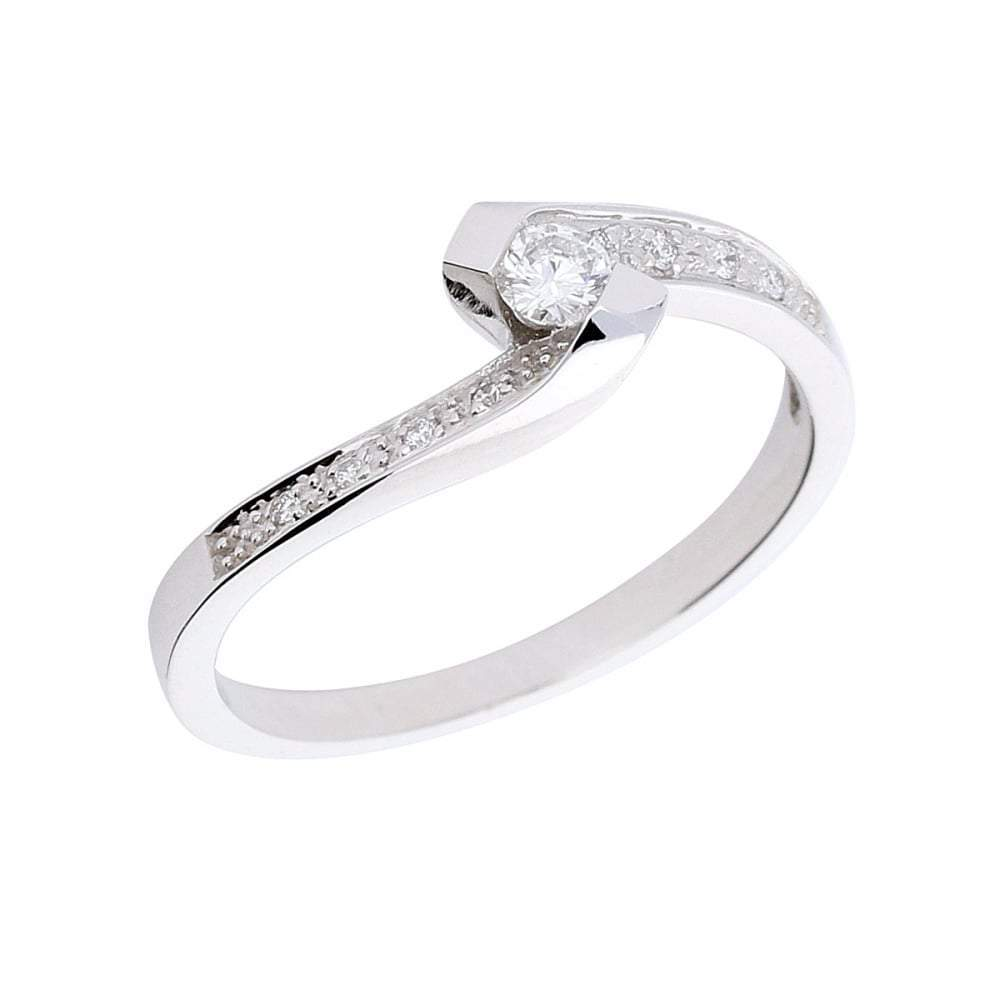 Rock Lobster Ring Manhatton 18ct white gold diamond twist ring