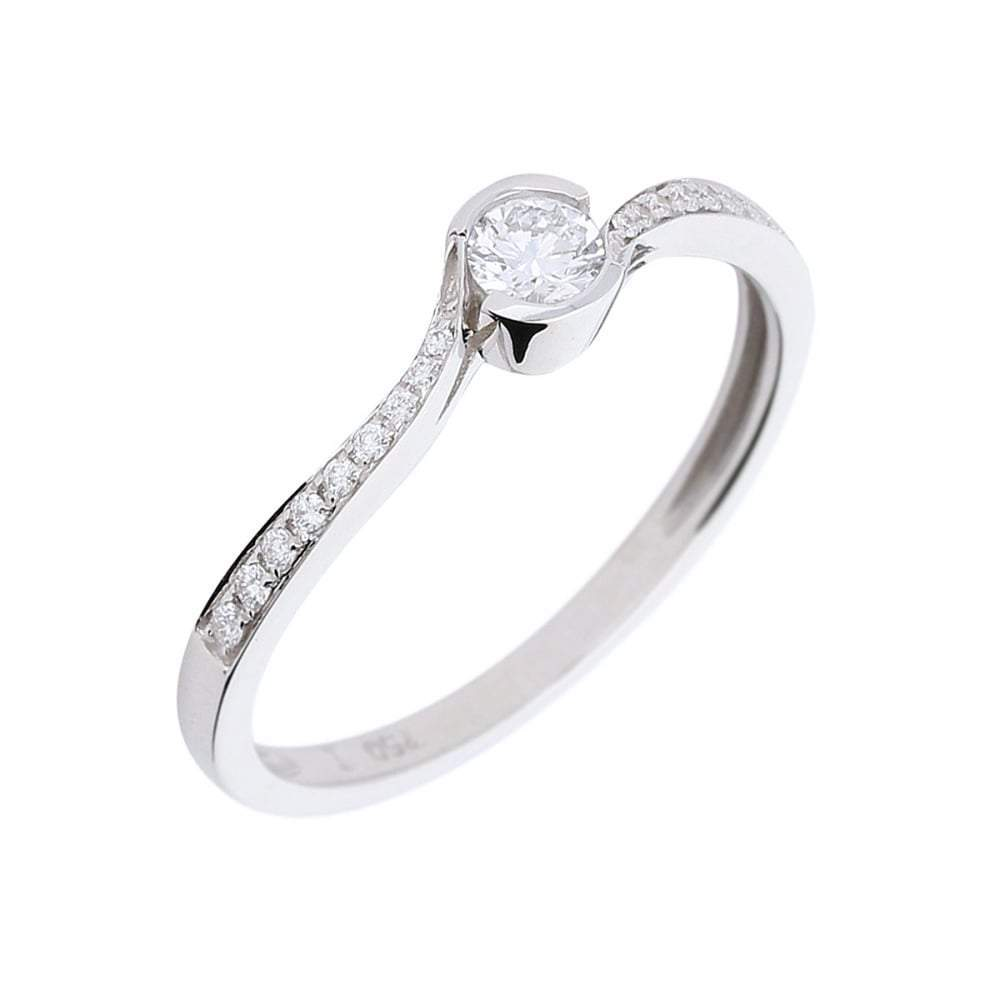 Rock Lobster Ring Manhatton 18ct white gold diamond twist ring with set shoulders