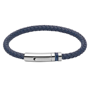 Rock Lobster Bracelet Navy plaited leather bracelet with a blue inlaid steel clasp