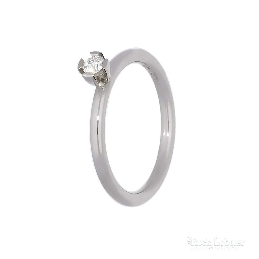 Rock Lobster Ring Palladium 0.10ct Brilliant cut Diamond ring by James Newman