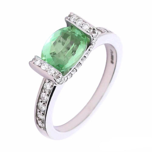 Rock Lobster Ring Palladium green oval tourmaline ring with diamond setting and shoulders
