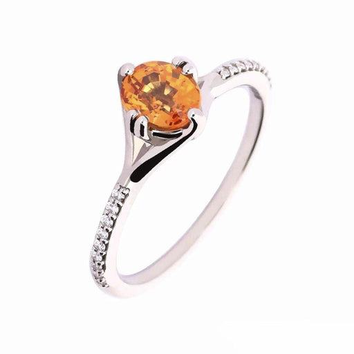 Rock Lobster Ring Palladium spessartine garnet diamond ring