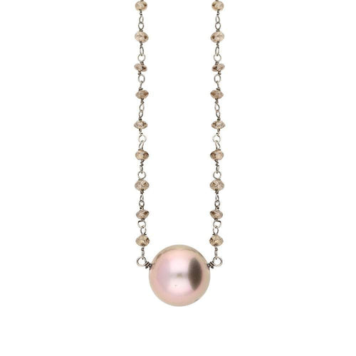Rock Lobster Neckwear Pink kasumiga pearl necklace set with brown diamonds on 18ct white gold