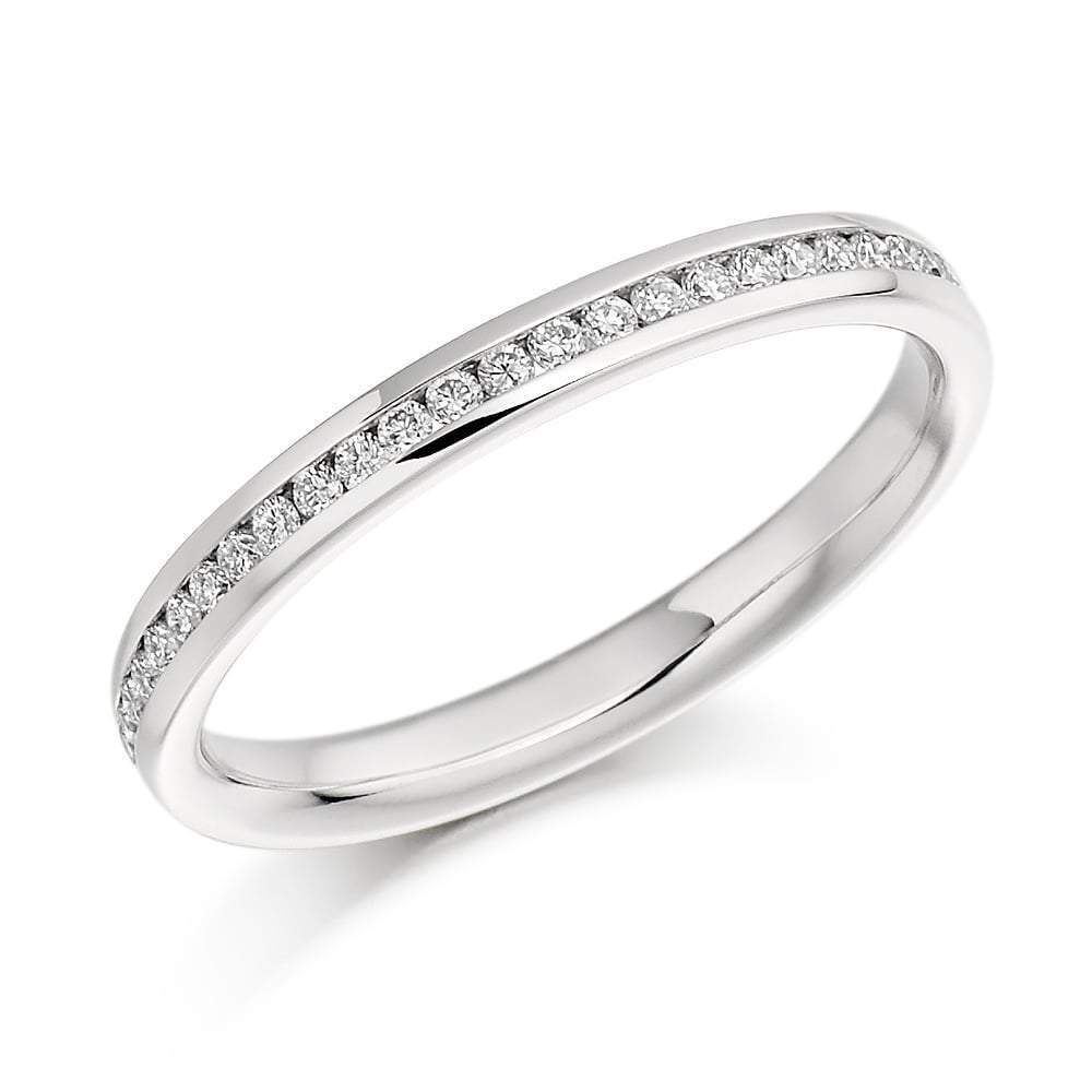 Rock Lobster Ring Platinum 0.15 channel set brilliant Diamond half eternity band
