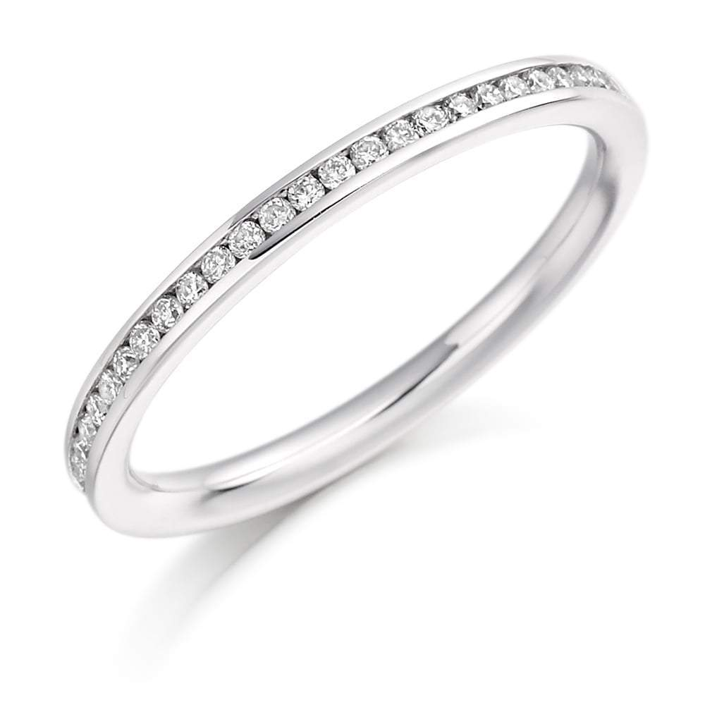 Rock Lobster Ring Platinum 0.20 channel set brilliant Diamond 1/2 eternity band