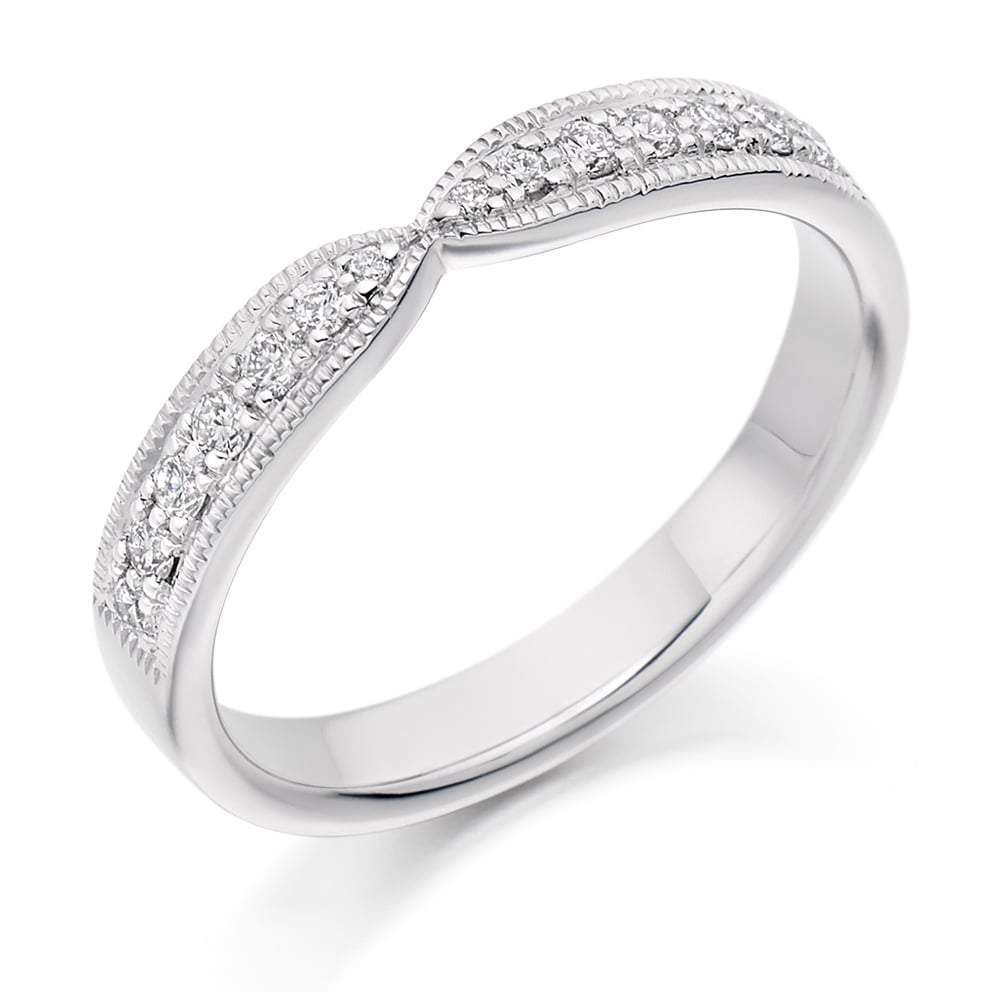 Rock Lobster Ring Platinum 0.20 curved grain set Diamond 1/2 eternity band