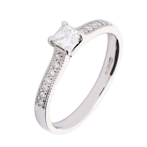 Rock Lobster Ring Platinum 0.28ct princess cut diamond ring with 0.10ct set shoulders