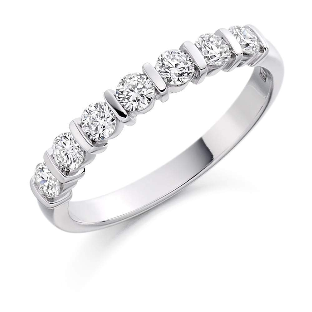 Rock Lobster Ring Platinum 0.50 bar set Diamond 1/2 eternity band