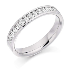 Rock Lobster Ring Platinum 0.50 channel set mixed Diamond 1/2 eternity band