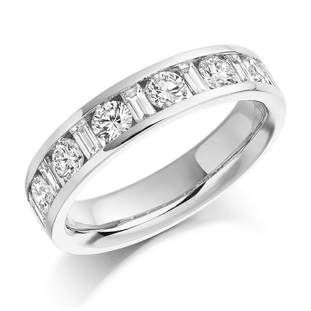 Rock Lobster Ring Platinum 1.08 channel set mixed Diamond 1/2 eternity band