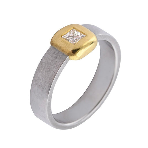 Rock Lobster Ring Platinum and 18ct yellow gold 0.20ct princess diamond ring